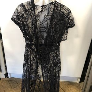 Other - Black lace long beach coverup